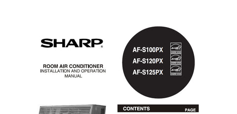 SHARP AF-S100PX AF-S120PX AF-S125PX ROOM AIR CONDITIONER INSTALLATION AND OPERATION MANUAL 20 PAGES ENG