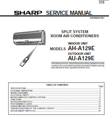 SHARP AH-A129E SPLIT SYSTEM ROOM AIR CONDITIONERS SERVICE MANUAL INC BLK DIAG PCB SCHEM DIAG AND PARTS LIST 28 PAGES ENG