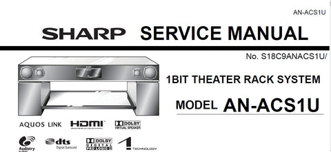 SHARP AN-ACS1U 1 BIT THEATER RACK SYSTEM SERVICE MANUAL INC BLK DIAGS PCBS SCHEM DIAGS AND PARTS LIST 112 PAGES ENG