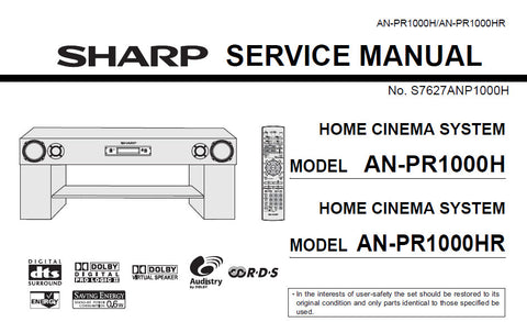SHARP AN-PR1000H AN-PR1000HR HOME CINEMA SYSTEM SERVICE MANUAL INC BLK DIAGS PCBS SCHEM DIAGS AND PARTS LIST 109 PAGES ENG