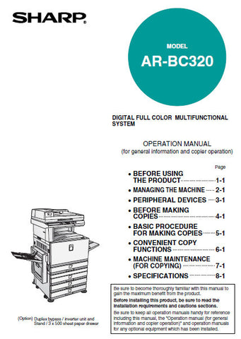 SHARP AR-BC320 DIGITAL FULL COLOR MULTIFUNCTIONAL SYSTEM OPERATION MANUAL 140 PAGES ENG