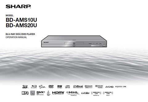 SHARP BD-AMS10U BD-AMS20U BLU-RAY DISC DVD PLAYER OPERATION MANUAL 80 PAGES ENG