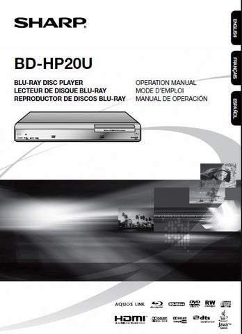 SHARP BD-HP20U BLU-RAY DISC PLAYER OPERATION MANUAL 58 PAGES ENG