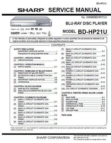 SHARP BD-HP21U BLU-RAY DISC PLAYER SERVICE MANUAL INC BLK DIAGS PCBS SCHEM DIAGS AND PARTS LIST 68 PAGES ENG