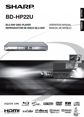 SHARP BD-HP22U BLU-RAY DISC PLAYER OPERATION MANUAL 55 PAGES ENG