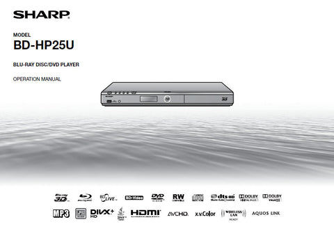 SHARP BD-HP25U BLU-RAY DISC DVD PLAYER OPERATION MANUAL 71 PAGES ENG