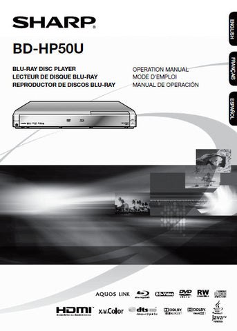 SHARP BD-HP50U BLU-RAY DISC PLAYER OPERATION MANUAL 51 PAGES ENG
