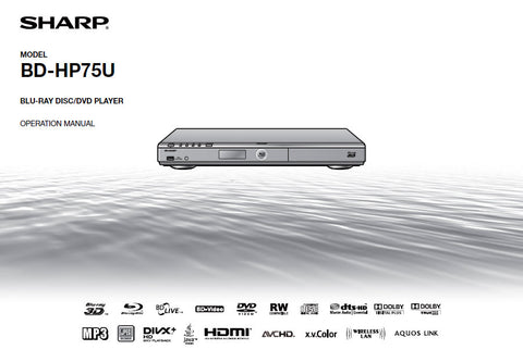 SHARP BD-HP75U BLU-RAY DISC DVD PLAYER OPERATION MANUAL 74 PAGES ENG