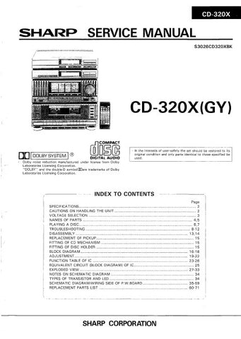 SHARP CD-320X (GY) CD SYSTEM SERVICE MANUAL INC BLK DIAG PCBS SCHEM DIAGS AND PARTS LIST 62 PAGES ENG
