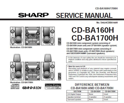 SHARP CD-BA160H CD-BA1700H CD SYSTEM SERVICE MANUAL INC BLK DIAG PCBS SCHEM DIAGS AND PARTS LIST 64 PAGES ENG