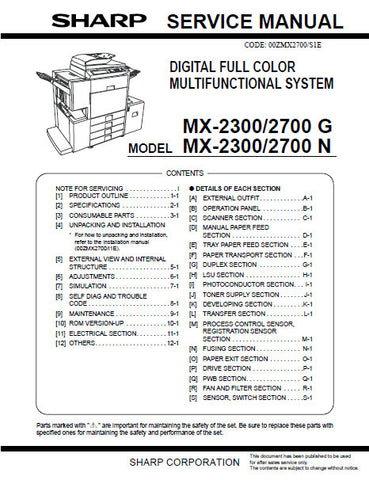 SHARP AR-BC260 DIGITAL FULL COLOR MULTIFUNCTIONAL SYSTEM SERVICE MANUAL INC BLK DIAGS AND SCHEM DIAGS 308 PAGES ENG