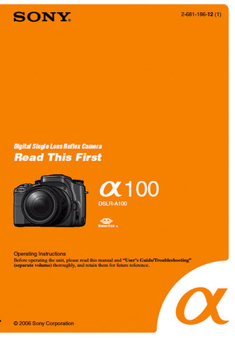SONY ALPHA α100 DSLR-A100 DIGITAL SINGLE LENS REFLEX CAMERA OPERATING INSTRUCTIONS 19 PAGES ENG