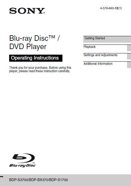 SONY BDP-BX370 BDP-S1700 BDP-S3700 BLU-RAY DISC DVD PLAYER OPERATING INSTRUCTIONS 44 PAGES ENG
