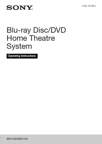 SONY BDV-E280 BDV-T28 BLU-RAY DISC DVD HOME THEATRE SYSTEM OPERATING INSTRUCTIONS 68 PAGES ENG