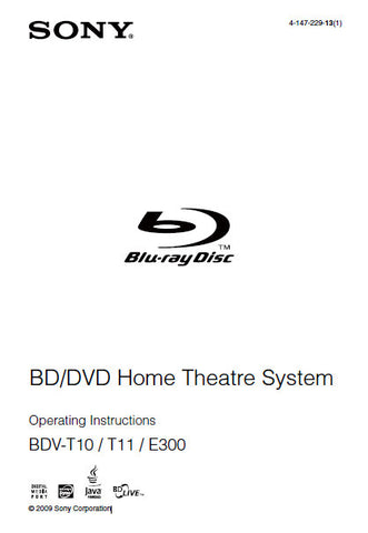 SONY BDV-E300 BDV-T10 BDV-T11 BD DVD HOME THEATRE SYSTEM OPERATING INSTRUCTIONS 119 PAGES ENG