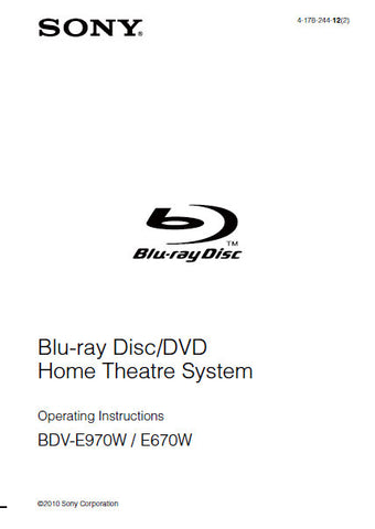 SONY BDV-E970W BDV-E670W BLU-RAY DISC DVD HOME THEATRE SYSTEM OPERATING INSTRUCTIONS 84 PAGES ENG