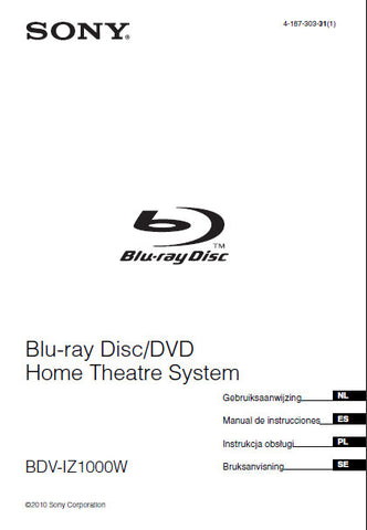 SONY BDV-IZ1000W BLU-RAY DISC DVD HOME THEATRE SYSTEM GEBRUIKSAANWIJZING 371 PAGES NL ESP PL SE
