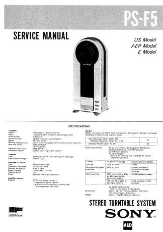 SONY PS-F5 STEREO TURNTABLE SYSTEM SERVICE MANUAL INC BLK DIAG PCB SCHEM DIAGS AND PARTS LIST 32 PAGES ENG
