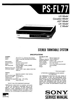 SONY PS-FL77 STEREO TURNTABLE SYSTEM SERVICE MANUAL INC BLK DIAG PCBS SCHEM DIAG AND PARTS LIST 40 PAGES ENG