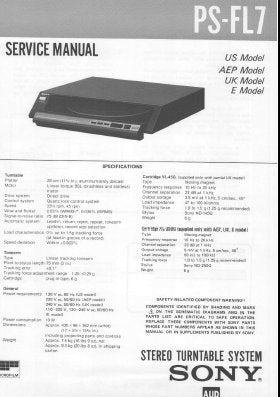 SONY PS-FL7 STEREO TURNTABLE SYSTEM SERVICE MANUAL INC BLK DIAG PCBS SCHEM DIAG AND PARTS LIST 18 PAGES ENG