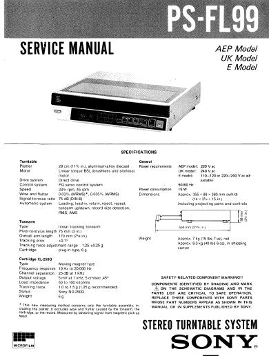 SONY PS-FL99 STEREO TURNTABLE SYSTEM SERVICE MANUAL INC BLK DIAG PCBS SCHEM DIAGS AND PARTS LIST 55 PAGES ENG