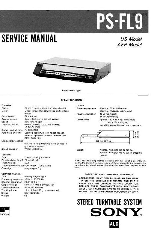 SONY PS-FL9 STEREO TURNTABLE SYSTEM SERVICE MANUAL INC BLK DIAG PCBS SCHEM DIAG AND PARTS LIST 45 PAGES ENG