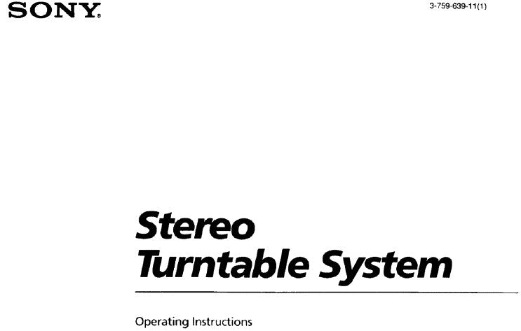SONY PS-J10 STEREO TURNTABLE SYSTEM OPERATING INSTRUCTIONS 16 PAGES ENG
