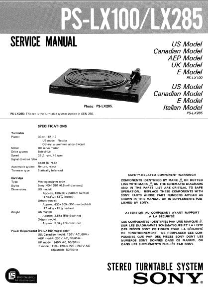 SONY PS-LX100 PS-LX285 STEREO TURNTABLE SYSTEM SERVICE MANUAL INC SCHEM DIAG WIRING DIAG AND PARTS LIST 9 PAGES ENG