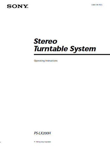 PS-LX200H STEREO TURNTABLE SYSTEM OPERATING INSTRUCTIONS 8 PAGES ENG