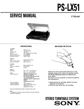 SONY PS-LX51 STEREO TURNTABLE SYSTEM SERVICE MANUAL INC SCHEM DIAG AND PARTS LIST 5 PAGES ENG