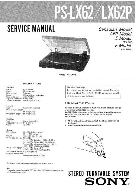 SONY PS-LX62 PS-LX62P STEREO TURNTABLE SYSTEM SERVICE MANUAL INC SCHEM DIAG WIRING DIAG AND PARTS LIST 6 PAGES ENG