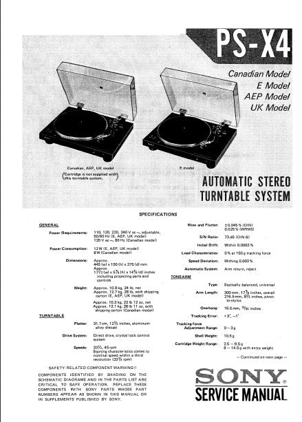 SONY PS-X4 AUTOMATIC STEREO TURNTABLE SYSTEM SERVICE MANUAL INC BLK DIAG PCBS SCHEM DIAG AND PARTS LIST 21 PAGES ENG
