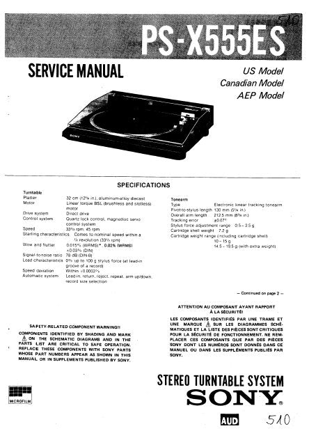 SONY PS-X555ES STEREO TURNTABLE SYSTEM SERVICE MANUAL INC BLK DIAG PCBS SCHEM DIAG AND PARTS LIST 36 PAGES ENG