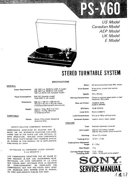 SONY PS-X60 STEREO TURNTABLE SYSTEM SERVICE MANUAL INC BLK DIAG PCBS SCHEM DIAG AND PARTS LIST 19 PAGES ENG