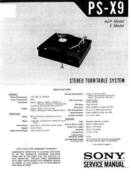 SONY PS-X9 STEREO TURNTABLE SYSTEM SERVICE MANUAL INC BLK DIAG PCBS SCHEM DIAGS AND PARTS LIST 34 PAGES ENG