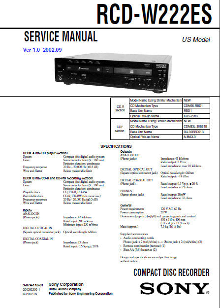 SONY RCD-W222ES CD RECORDER SERVICE MANUAL INC BLK DIAGS PCBS SCHEM DIAGS AND PARTS LIST 106 PAGES ENG