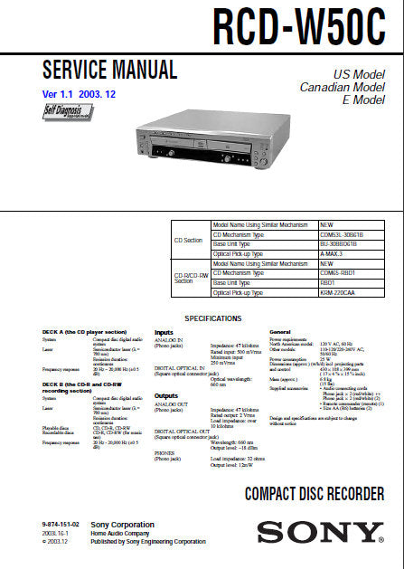 SONY RCD-W50C CD RECORDER SERVICE MANUAL INC BLK DIAGS PCBS SCHEM DIAGS AND PARTS LIST 110 PAGES ENG