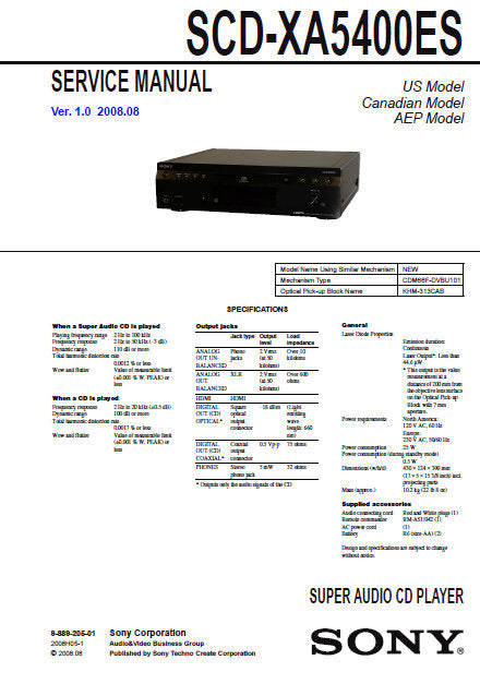SONY SCD-XA5400ES SUPER AUDIO CD PLAYER SERVICE MANUAL INC BLK DIAG PCBS SCHEM DIAGS AND PARTS LIST 66 PAGES ENG
