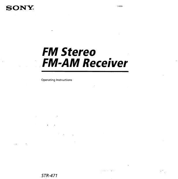 SONY STR-471 FM STEREO FM AM TUNER OPERATING INSTRUCTIONS 13 PAGES ENG