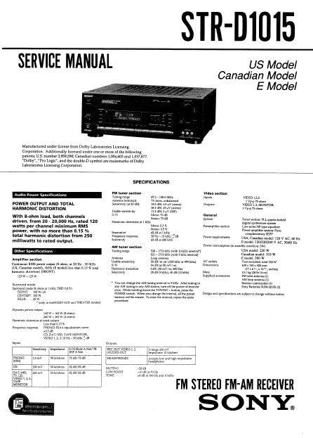 SONY STR-D1015 FM STEREO FM AM RECEIVER SERVICE MANUAL INC BLK DIAGS PCBS SCHEM DIAGS AND PARTS LIST 46 PAGES ENG