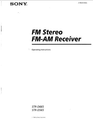 SONY STR-D565 STR-D665 FM STEREO FM AM RECEIVER OPERATING INSTRUCTIONS 20 PAGES ENG