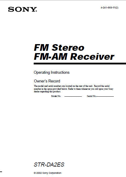 SONY STR-DA2ES FM STEREO FM AM RECEIVER OPERATING INSTRUCTIONS 72 PAGES ENG