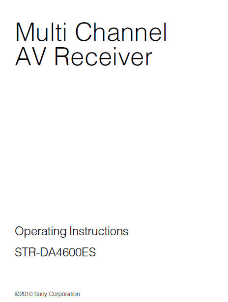 SONY STR-DA4600ES MULTI CHANNEL AV RECEIVER OPERATING INSTRUCTIONS 170 PAGES ENG