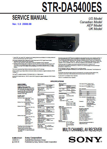 SONY STR-DA5400ES MULTI CHANNEL AV RECEIVER SERVICE MANUAL INC BLK DIAGS PCBS SCHEM DIAGS AND PARTS LIST 218 PAGES ENG