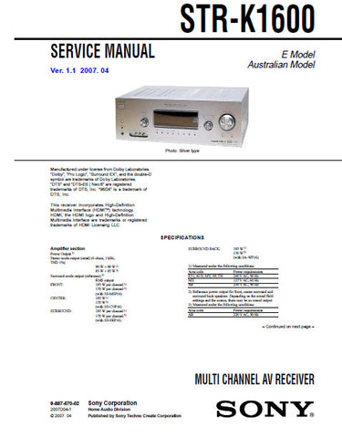 SONY STR-K1600 MULTI CHANNEL AV RECEIVER SERVICE MANUAL INC BLK DIAGS PCBS SCHEM DIAGS AND PARTS LIST 68 PAGES ENG