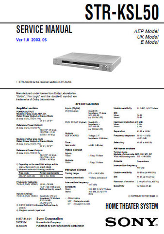 SONY STR-KSL50 HOME THEATER SYSTEM SERVICE MANUAL INC BLK DIAGS PCBS SCHEM DIAGS AND PARTS LIST 34 PAGES ENG
