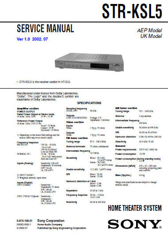 SONY STR-KSL5 HOME THEATER SYSTEM SERVICE MANUAL INC BLK DIAGS PCBS SCHEM DIAGS AND PARTS LIST 38 PAGES ENG