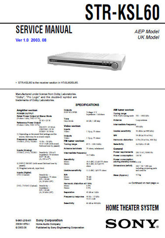 SONY STR-KSL60 HOME THEATER SYSTEM SERVICE MANUAL INC BLK DIAGS PCBS SCHEM DIAGS AND PARTS LIST 31 PAGES ENG