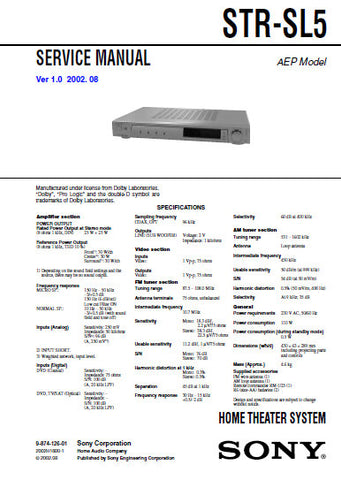 SONY STR-SL5 HOME THEATER SYSTEM SERVICE MANUAL INC BLK DIAGS PCBS SCHEM DIAGS AND PARTS LIST 38 PAGES ENG