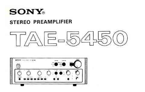 SONY TAE-5450 STEREO PREAMPLIFIER OWNER'S INSTRUCTION MANUAL 12 PAGES ENG